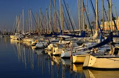 Modern yachts in harbor Le Barcares France royalty free stock images