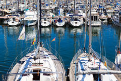 Modern yachts in port Stock Photos