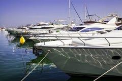 Modern yachts at sea port. Stock Photo