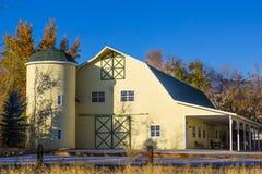 Modern Yellow Barn With Overhang stock photo