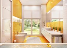 Modern bathroom with a large window. Modern yellow bathroom with large window royalty free illustration