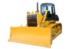 The modern yellow bulldozer stock images