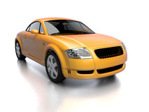 Modern yellow car front view. New glossy car 3d illustration isolated on white with reflection. For more colors and views of same car please check my portfolio Royalty Free Stock Image