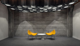 Modern Yellow Chairs and Small White Table in Room Royalty Free Stock Images