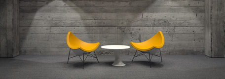 Modern Yellow Chairs and Small White Table in Room Royalty Free Stock Photos