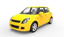 Modern Yellow Compact Car - Side View Stock Images