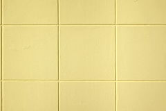 Modern Yellow Concrete Wall With Decorative Square Pattern Backg Stock Photo