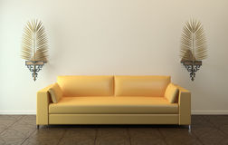 Modern yellow couch. Royalty Free Stock Photos