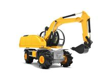 Modern yellow excavator machines. Over white Royalty Free Stock Photo