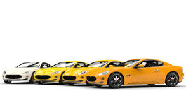 Modern Yellow Fast Cars Royalty Free Stock Images