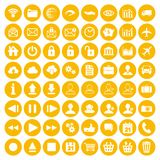 Modern yellow flat icon set of web, multimedia and business icon. S on a white background Royalty Free Stock Photos