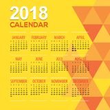 2018 Modern Yellow Geometric Printable Calendar Starts Sunday. Vector Illustration Royalty Free Stock Image