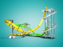 Modern yellow green water slides amusement for the water park for 3d rendering on blue background with shadow vector illustration