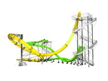 Modern yellow green water slides amusement for the water park for 3d rendering on white background no shadow vector illustration