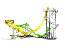 Modern yellow green water slides amusement for the water park for 3d rendering on a white background with shadow stock illustration