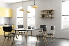 Modern yellow kitchen interior. With furniture and appliances. Style and design concept. 3D Rendering Stock Photos