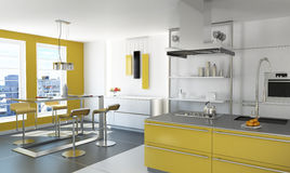 Modern yellow kitchen. royalty free stock photography