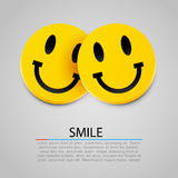 Modern yellow laughing two smiles. Vector Royalty Free Stock Images