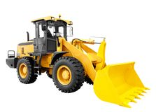 Modern yellow loader bulldozer excavator construction machinery equipment isolated on white background.  Stock Photo