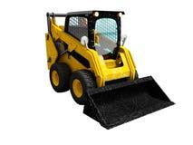 Modern yellow mini loader after loading stone 3d render on white stock illustration