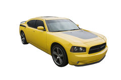 Modern yellow musclecar. Modern sedan muscle car isolated on white Stock Images