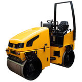 Modern yellow road-roller Royalty Free Stock Photos