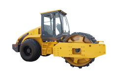 Modern yellow road roller separately Stock Images