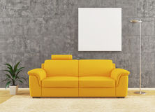 Modern yellow sofa on dirty wall interior design Royalty Free Stock Photos