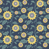 Modern yellow sun flowers seamless background Stock Photos