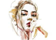 Free Modern Young Blonde Woman Portrait Hand Drawn Watercolor Illustration Stock Photos - 168399713