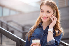 Modern young business woman in  a big city Royalty Free Stock Photos