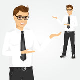Modern young businessman showing something Stock Image