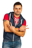 Modern  young man gesturing Stock Photos