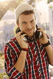 Modern young man with headphones Royalty Free Stock Photos