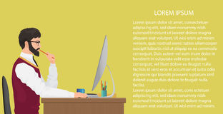 Modern young office worker using computer. Front view. Businessman working at his office desk. Work concept vector Stock Photos