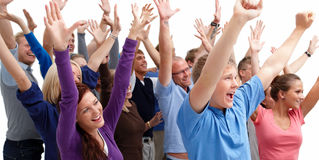 Modern young people celebrating victory Royalty Free Stock Photo