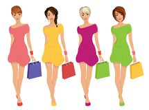 Modern Young Shopping Girls figures with sale fashion bags isolated illustration stock illustration