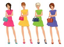 Modern Young Shopping Girls figures with sale fashion bags isolated vector illustration stock illustration