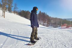 Modern Young Snowboarder stock image