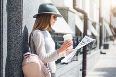 Modern young woman in a big city Stock Photography