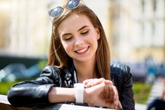 Modern young woman in a big city Stock Image