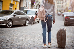 Modern young woman in a big city Royalty Free Stock Photo