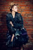 Fluffy dress and jacket stock images