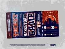 Modern yrkesmässig design av basketbiljetter i blått tema Royaltyfri Foto