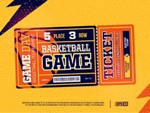 Modern yrkesmässig design av basketbiljetter i orange tema Royaltyfri Bild