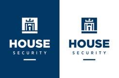 Modern yrkesmässig säkerhet för vektorlogohus i blått tema stock illustrationer