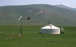 Modern yurt, Mongolia Stock Photo