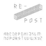 Modern zip code style sans serif font Royalty Free Stock Photos