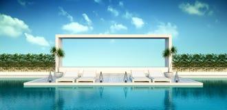 Modern zolderbinnenland van woonkamer met blauwe leunstoelen op witte bevloering en donkerblauwe muur lege ruimte, het 3d terugge vector illustratie