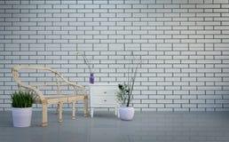 Modern zolderbinnenland, woonkamer, lijst en installaties op heldere grijze bakstenen muurachtergrond, het 3d teruggeven stock illustratie